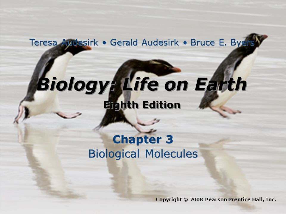 Biology: Life on Earth Eighth Edition Biology: Life on Earth Eighth Edition Chapter 3 Biological Molecules Chapter 3 Biological Molecules Copyright © 2008 Pearson Prentice Hall, Inc.