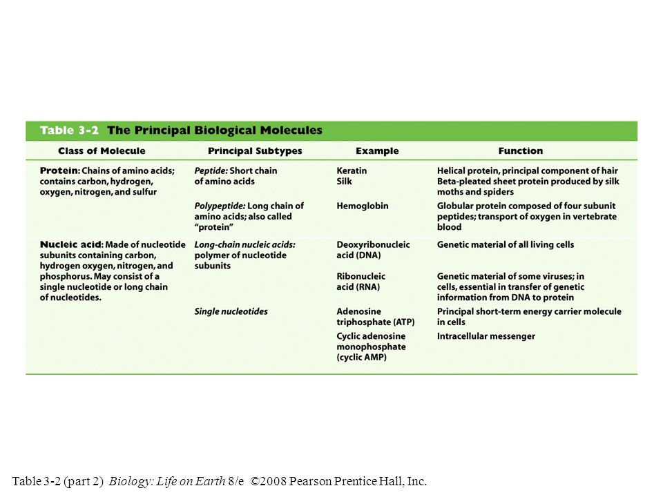Table 3-2 (part 2) Biology: Life on Earth 8/e ©2008 Pearson Prentice Hall, Inc.