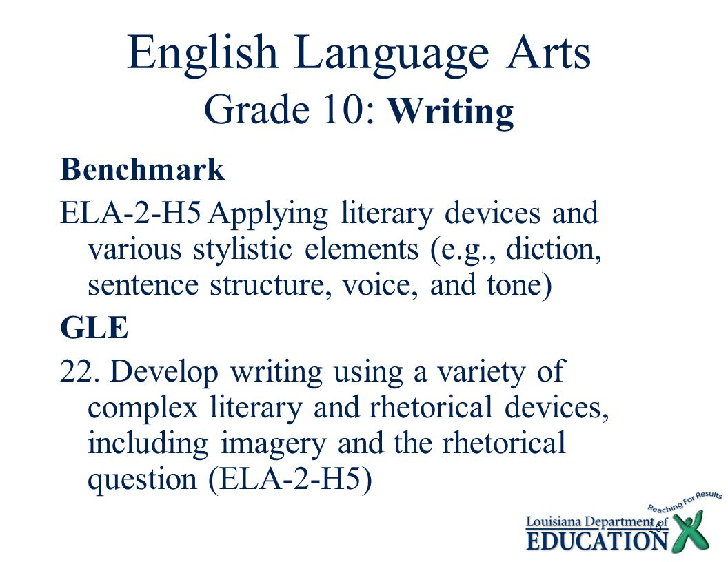 16 English Language Arts Grade 10: Writing Benchmark ELA-2-H5Applying literary devices and various stylistic elements (e.g., diction, sentence structure, voice, and tone) GLE 22.