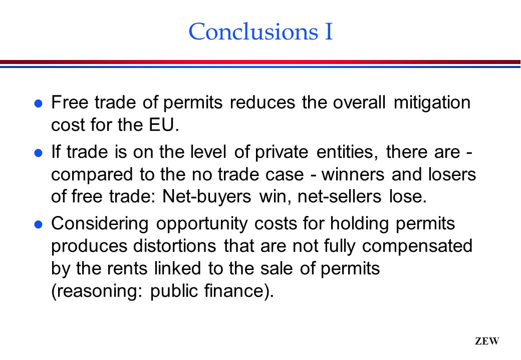 ZEW Conclusions I l Free trade of permits reduces the overall mitigation cost for the EU.