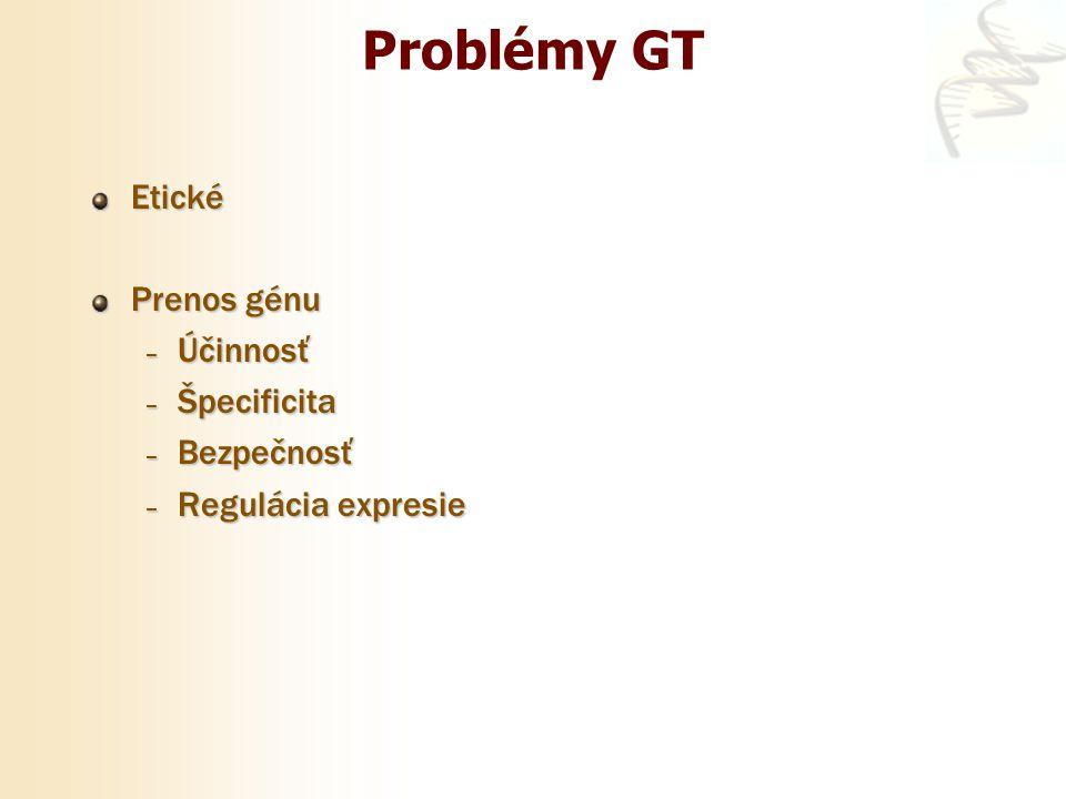 Problémy GT Etické Prenos génu – Účinnosť – Špecificita – Bezpečnosť – Regulácia expresie