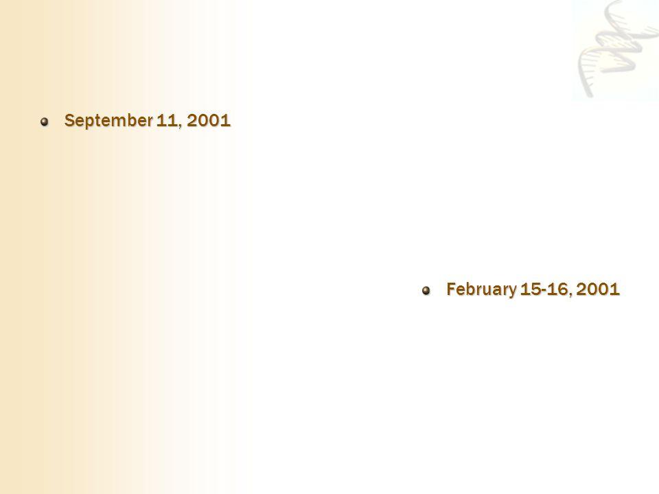 September 11, 2001 February 15-16, 2001