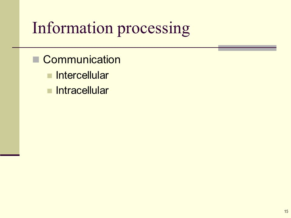 15 Information processing Communication Intercellular Intracellular