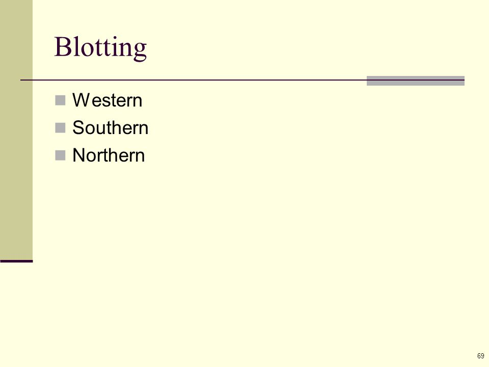 69 Blotting Western Southern Northern