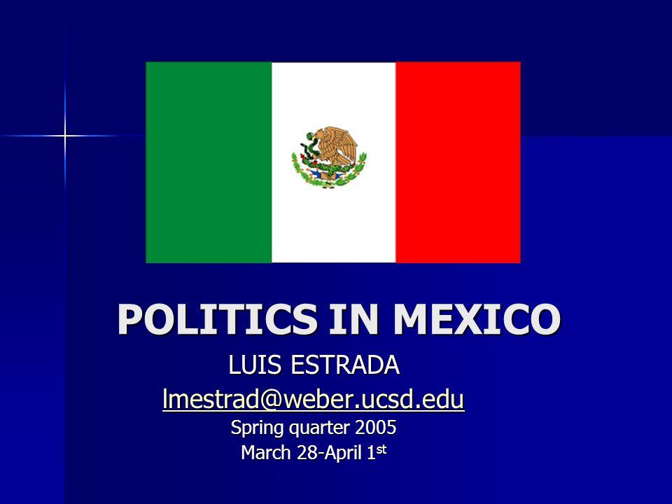 POLITICS IN MEXICO LUIS ESTRADA lmestrad@weber.ucsd.edu Spring quarter 2005 March 28-April 1 st