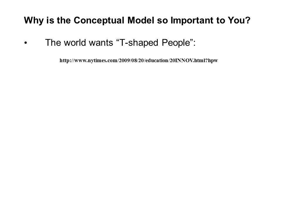 Why is the Conceptual Model so Important to You.