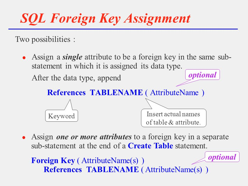 SQL Foreign Key Assignment l Assign a single attribute to be a foreign key in the same sub- statement in which it is assigned its data type.