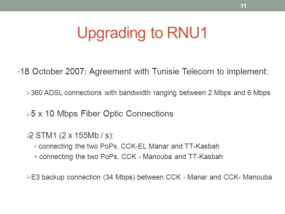 Upgrading to RNU1 18 October 2007: Agreement with Tunisie Telecom to implement:  360 ADSL connections with bandwidth ranging between 2 Mbps and 6 Mbps  5 x 10 Mbps Fiber Optic Connections  2 STM1 (2 x 155Mb / s):  connecting the two PoPs, CCK-EL Manar and TT-Kasbah  connecting the two PoPs, CCK - Manouba and TT-Kasbah  E3 backup connection (34 Mbps) between CCK - Manar and CCK- Manouba 11