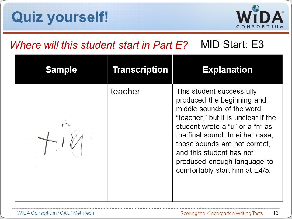Scoring the Kindergarten Writing Tests 13WIDA Consortium / CAL / MetriTech Quiz yourself.