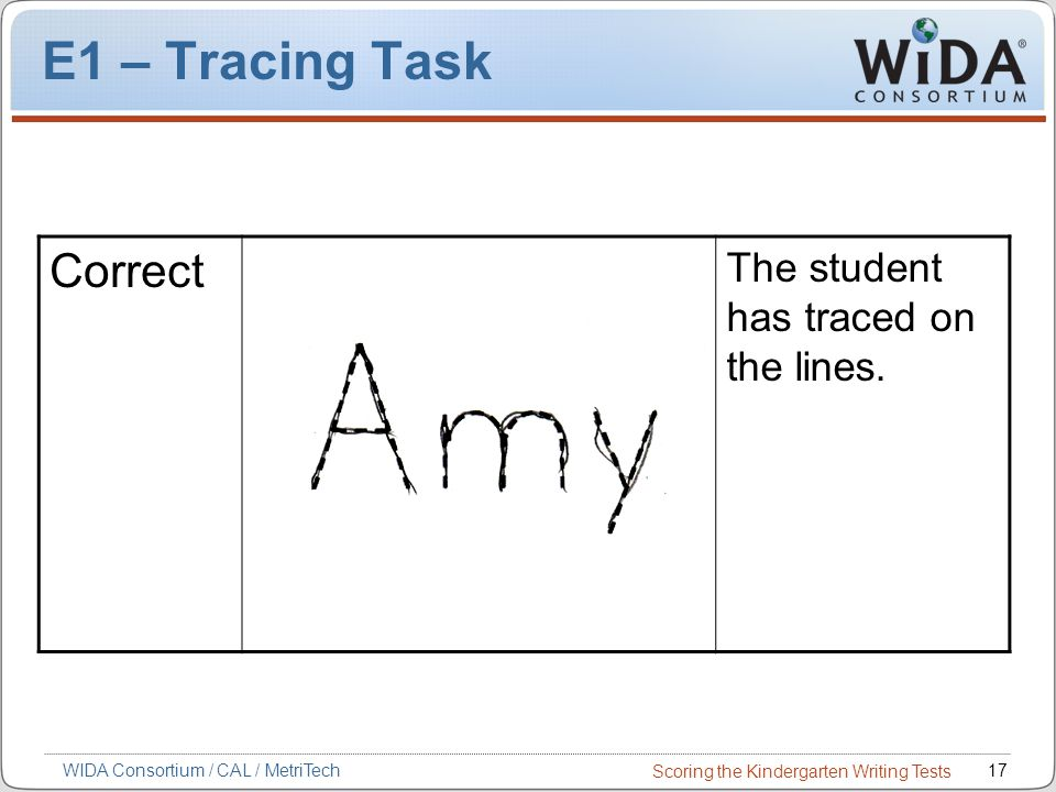 Scoring the Kindergarten Writing Tests 17WIDA Consortium / CAL / MetriTech E1 – Tracing Task Correct The student has traced on the lines.