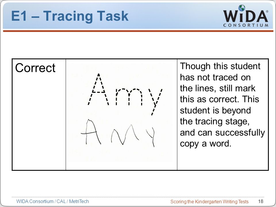Scoring the Kindergarten Writing Tests 18WIDA Consortium / CAL / MetriTech E1 – Tracing Task Correct Though this student has not traced on the lines, still mark this as correct.