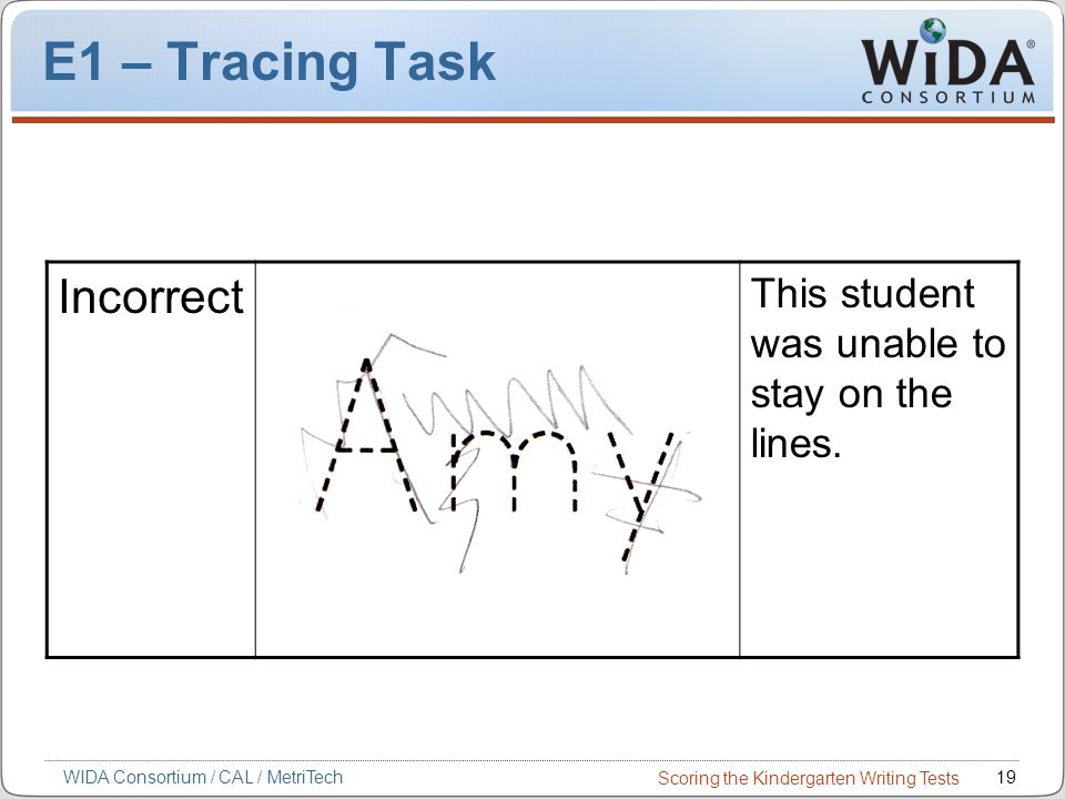 Scoring the Kindergarten Writing Tests 19WIDA Consortium / CAL / MetriTech E1 – Tracing Task Incorrect This student was unable to stay on the lines.