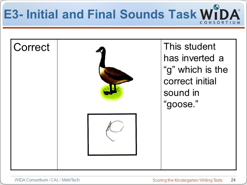 Scoring the Kindergarten Writing Tests 24WIDA Consortium / CAL / MetriTech E3- Initial and Final Sounds Task Correct This student has inverted a g which is the correct initial sound in goose.