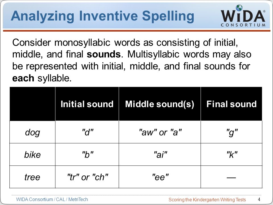 Scoring the Kindergarten Writing Tests 4WIDA Consortium / CAL / MetriTech Analyzing Inventive Spelling Consider monosyllabic words as consisting of initial, middle, and final sounds.