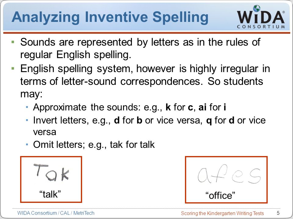 Scoring the Kindergarten Writing Tests 5WIDA Consortium / CAL / MetriTech Analyzing Inventive Spelling Sounds are represented by letters as in the rules of regular English spelling.