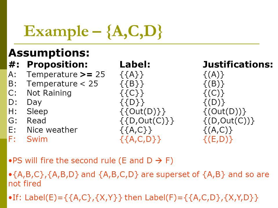 Example – {A,C,D} Assumptions: #:Proposition: Label: Justifications: A:Temperature >= 25 {{A}} {(A)} B: Temperature < 25 {{B}} {(B)} C: Not Raining {{C}} {(C)} D: Day {{D}} {(D)} H: Sleep {{Out(D)}} {(Out(D))} G:Read{{D,Out(C)}}{(D,Out(C))} E: Nice weather{{A,C}}{(A,C)} F: Swim{{A,C,D}}{(E,D)} PS will fire the second rule (E and D  F) {A,B,C},{A,B,D} and {A,B,C,D} are superset of {A,B} and so are not fired If: Label(E)={{A,C},{X,Y}} then Label(F)={{A,C,D},{X,Y,D}}