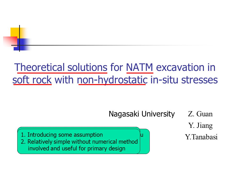 Theoretical solutions for NATM excavation in soft rock with non-hydrostatic in-situ stresses Nagasaki University Z. Guan Y. Jiang Y.Tanabasi 1. Philos