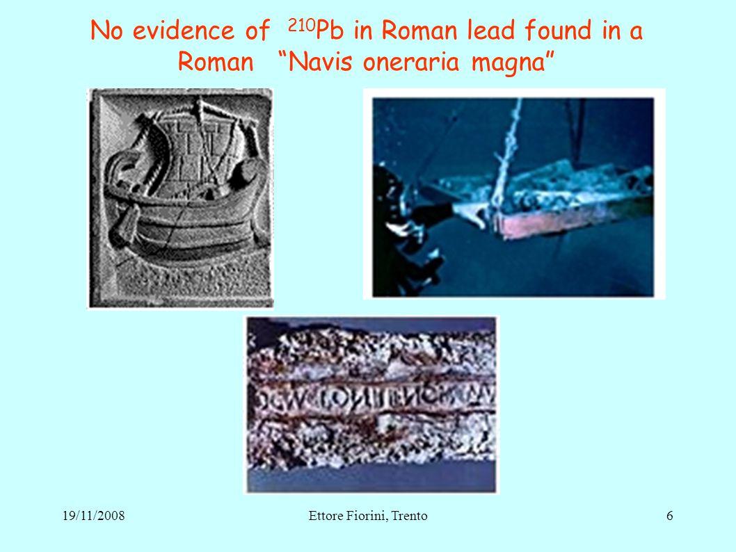 No evidence of 210 Pb in Roman lead found in a Roman Navis oneraria magna 619/11/2008Ettore Fiorini, Trento