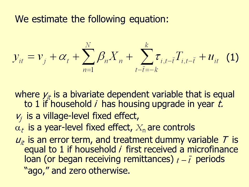 We estimate the following equation: (1) (1) where y it is a bivariate dependent variable that is equal to 1 if household i has housing upgrade in year t.