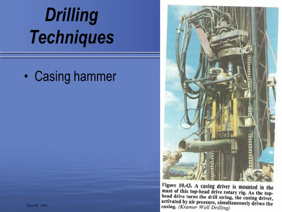 13 Drilling Techniques Casing hammer Driscoll, 1986