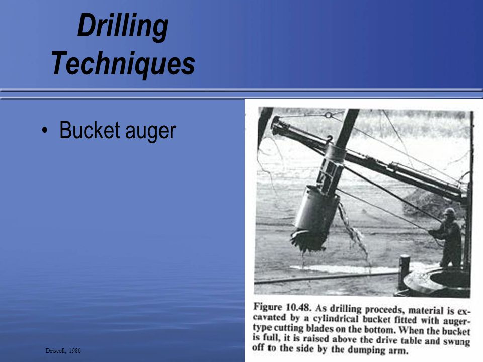 7 Drilling Techniques Cable tool rig Driscoll, 1986