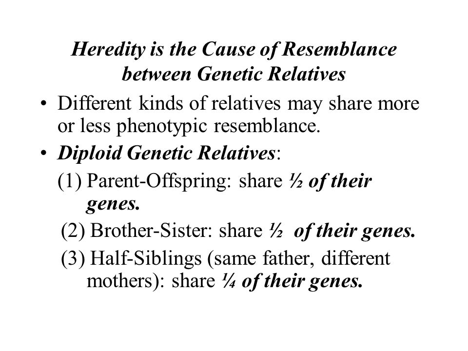 Heredity is the Cause of Resemblance between Genetic Relatives Different kinds of relatives may share more or less phenotypic resemblance. Diploid Gen