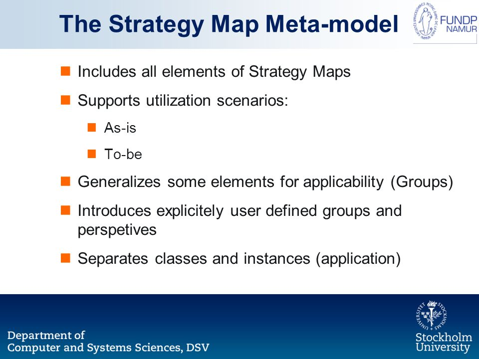 Includes all elements of Strategy Maps Supports utilization scenarios: As-is To-be Generalizes some elements for applicability (Groups) Introduces exp