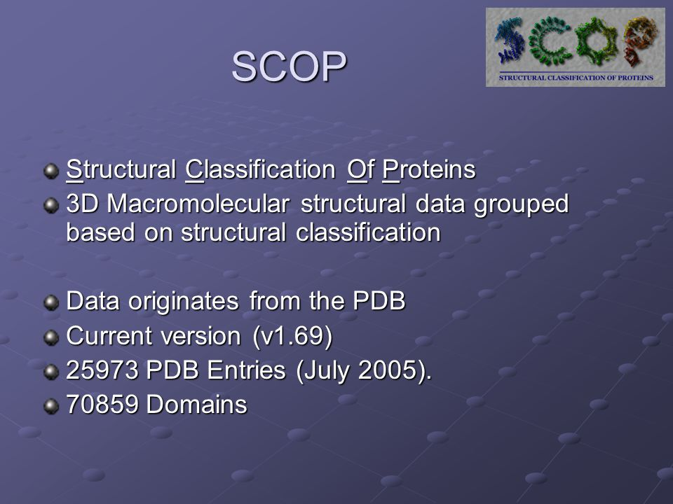 SCOP Structural Classification Of Proteins 3D Macromolecular structural data grouped based on structural classification Data originates from the PDB Current version (v1.69) 25973 PDB Entries (July 2005).