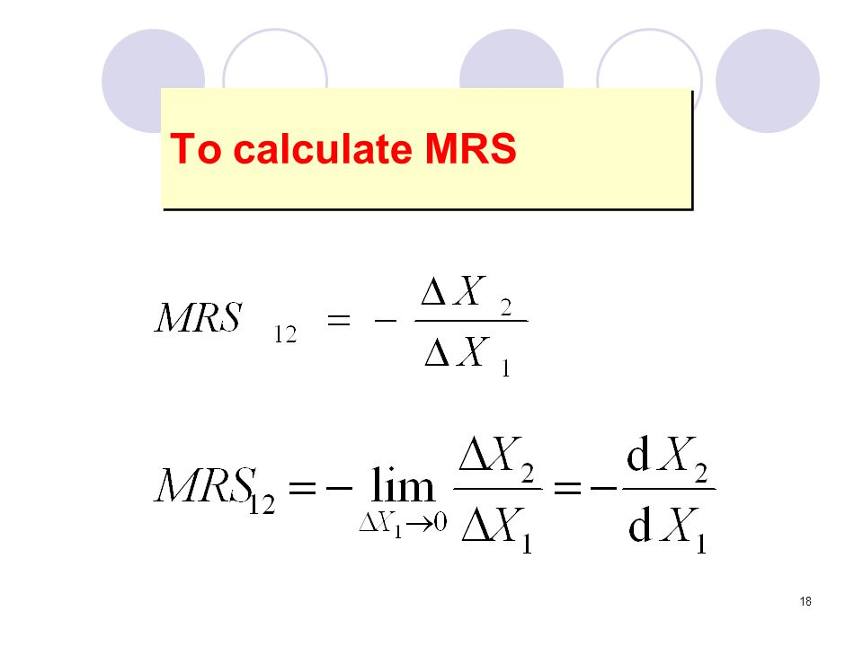 18 To calculate MRS