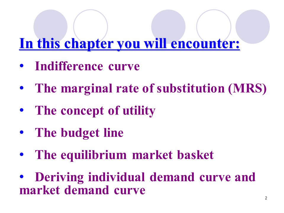 23 The budget line Consumers want to be most satisfactory, but to be constrained by their income (budget).