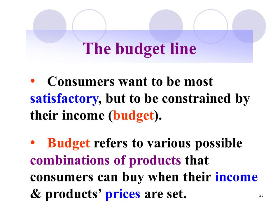 23 The budget line Consumers want to be most satisfactory, but to be constrained by their income (budget). Budget refers to various possible combinati