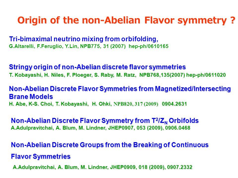 Stringy origin of non-Abelian discrete flavor symmetries T. Kobayashi, H. Niles, F. Ploeger, S. Raby, M. Ratz, NPB768,135(2007) hep-ph/0611020 Non-Abe