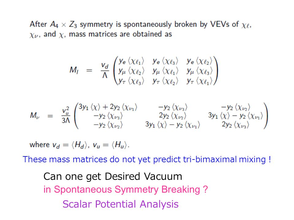 Can one get Desired Vacuum in Spontaneous Symmetry Breaking ? Scalar Potential Analysis These mass matrices do not yet predict tri-bimaximal mixing !