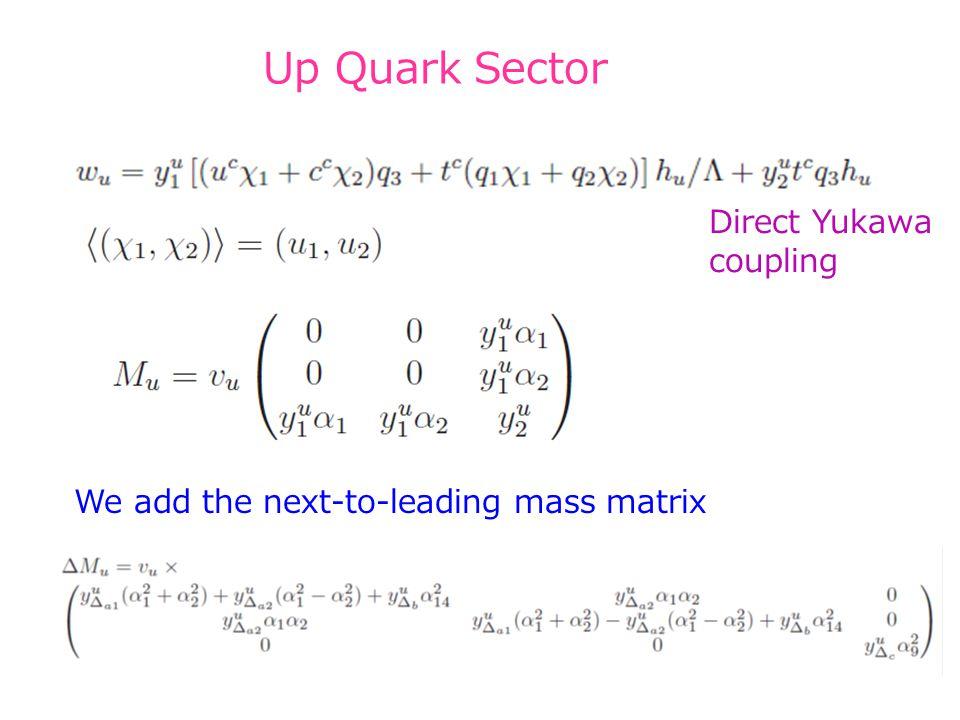Up Quark Sector We add the next-to-leading mass matrix 34 Direct Yukawa coupling