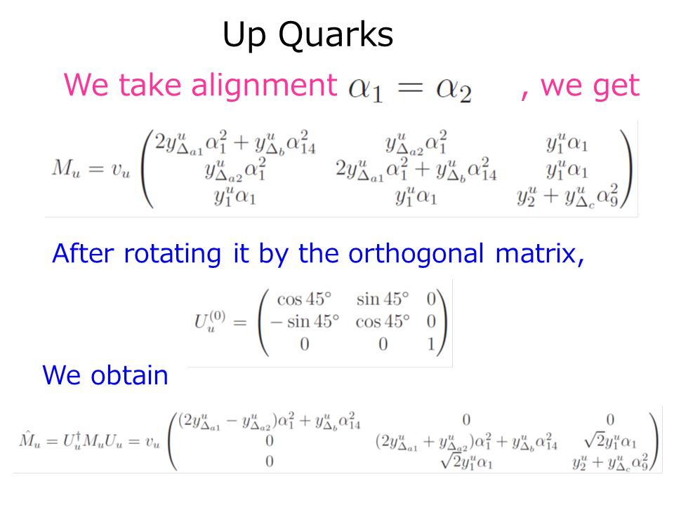 We take alignment, we get After rotating it by the orthogonal matrix, We obtain Up Quarks