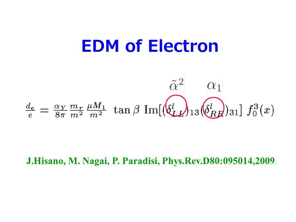 EDM of Electron J.Hisano, M. Nagai, P. Paradisi, Phys.Rev.D80:095014,2009. ○ ○