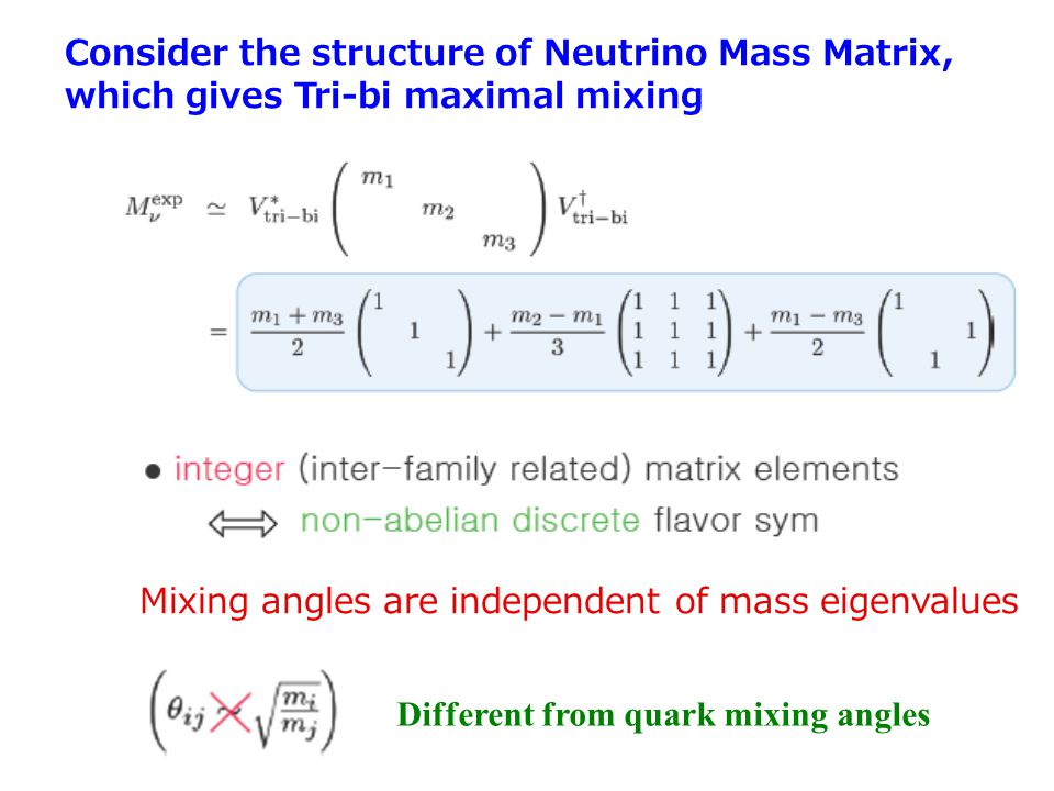 Mixing angles are independent of mass eigenvalues Different from quark mixing angles Consider the structure of Neutrino Mass Matrix, which gives Tri-b