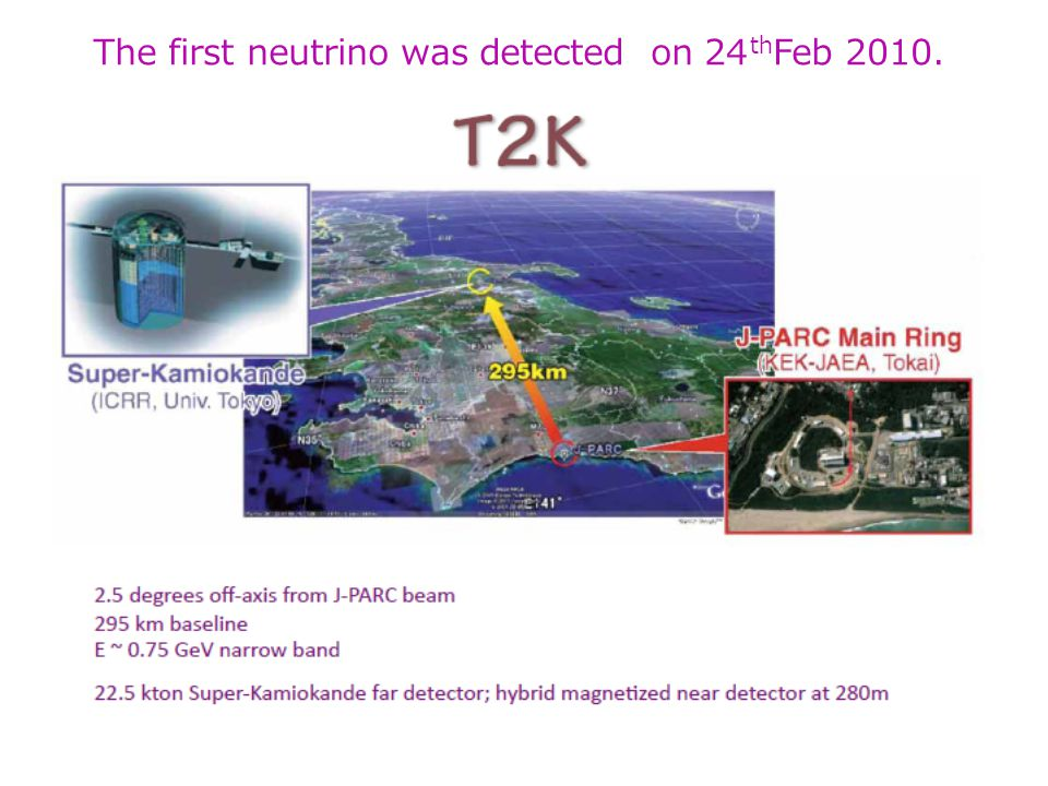 The first neutrino was detected on 24 th Feb 2010. 62