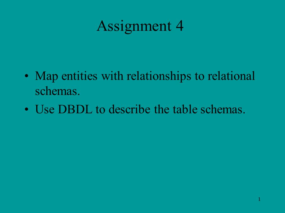 1 Assignment 4 Map entities with relationships to relational schemas.