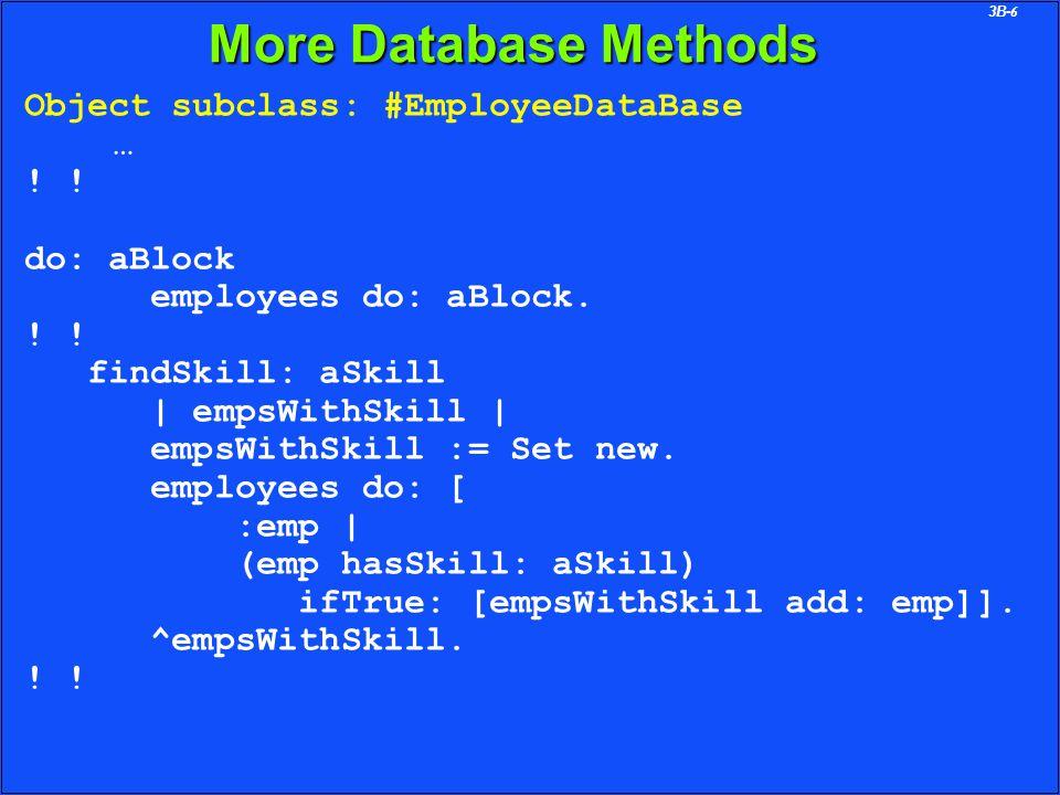 3B-6 More Database Methods Object subclass: #EmployeeDataBase … .