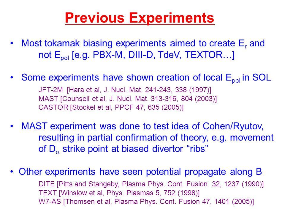 Most tokamak biasing experiments aimed to create E r and not E pol [e.g.