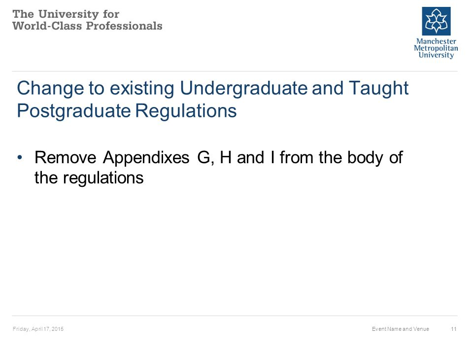 Change to existing Undergraduate and Taught Postgraduate Regulations Remove Appendixes G, H and I from the body of the regulations Friday, April 17, 2015Event Name and Venue11