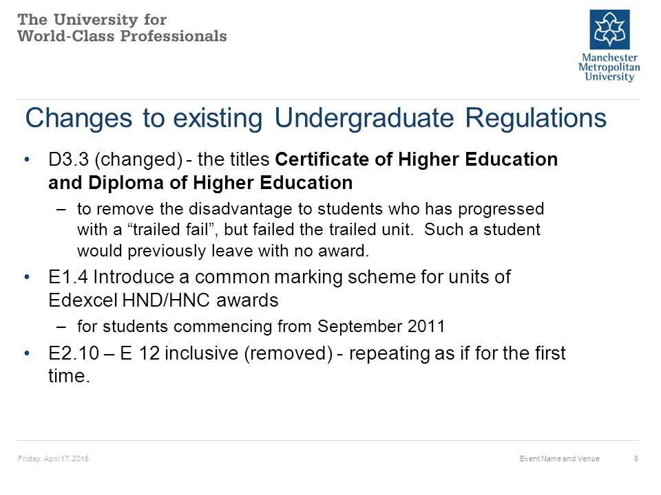 Changes to existing Undergraduate Regulations D3.3 (changed) - the titles Certificate of Higher Education and Diploma of Higher Education –to remove the disadvantage to students who has progressed with a trailed fail , but failed the trailed unit.
