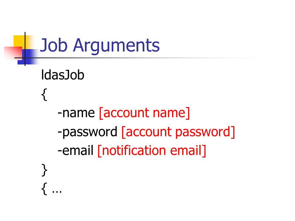 Job Contents ldasJob … { conditionData [conditionData arguments] }
