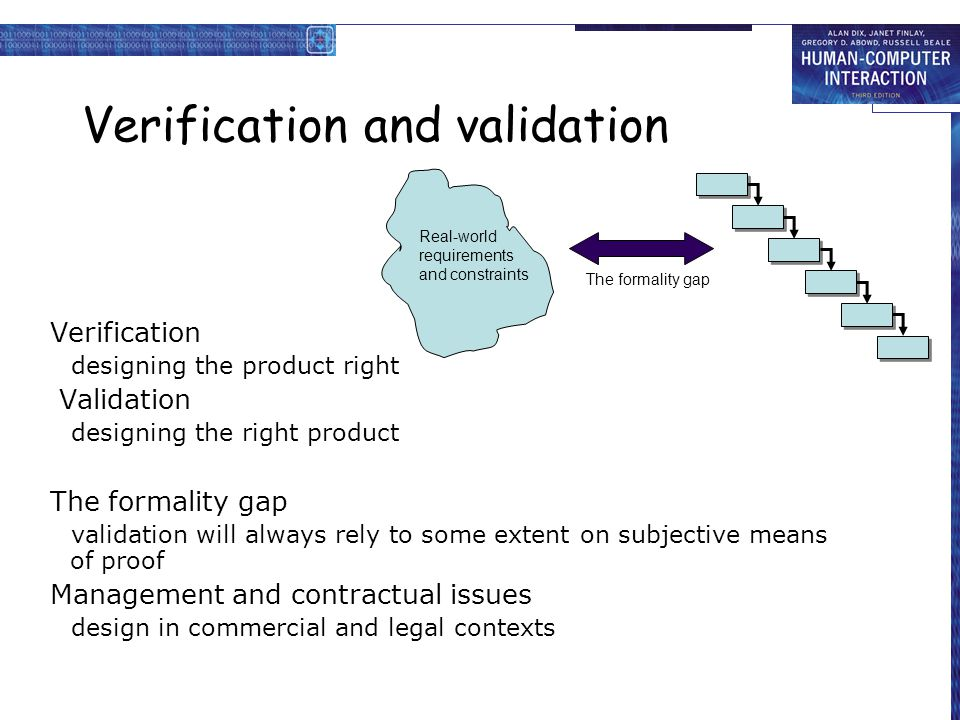 Verification and validation Verification designing the product right Validation designing the right product The formality gap validation will always rely to some extent on subjective means of proof Management and contractual issues design in commercial and legal contexts Real-world requirements and constraints The formality gap