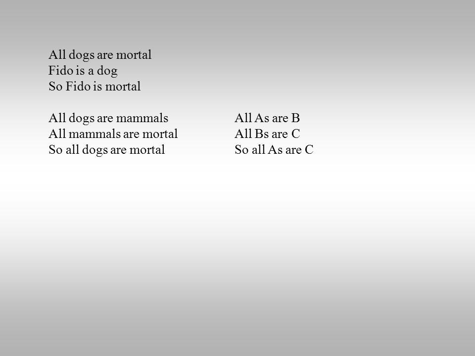 All dogs are mortal Fido is a dog So Fido is mortal All dogs are mammals All mammals are mortal So all dogs are mortal All As are B All Bs are C So al