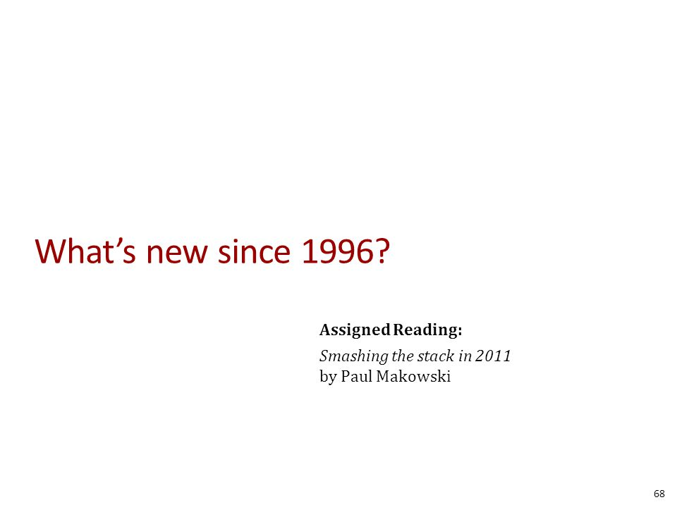 What's new since 1996? 68 Assigned Reading: Smashing the stack in 2011 by Paul Makowski