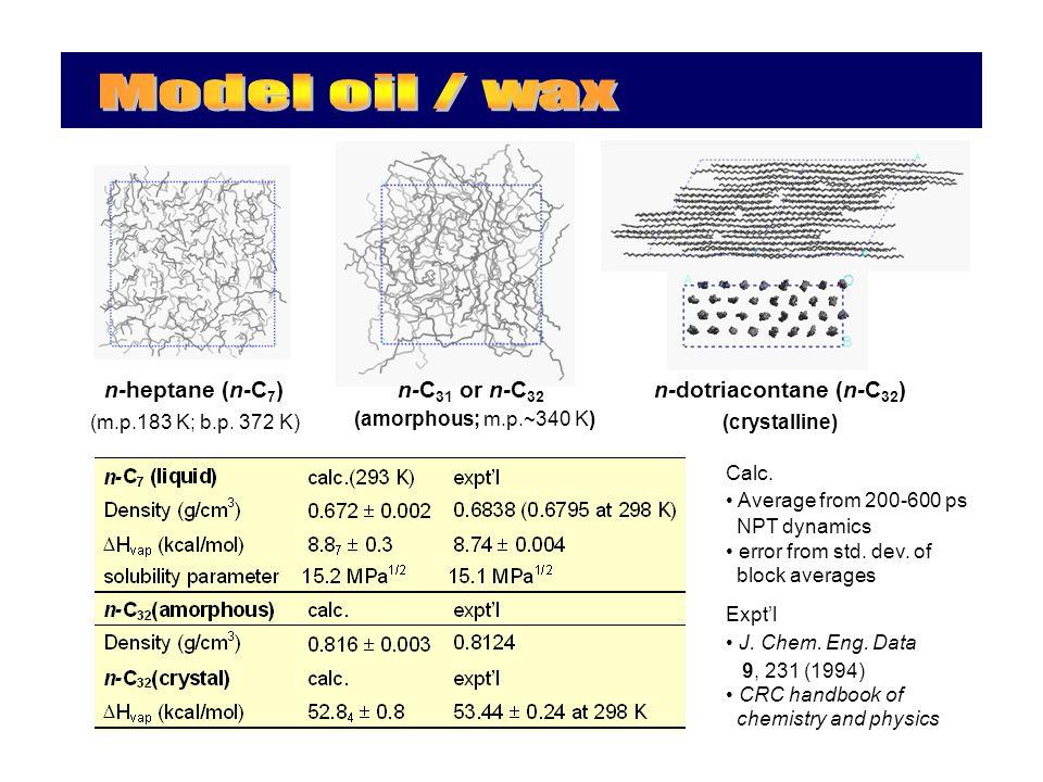 n-heptane (n-C 7 ) (m.p.183 K; b.p. 372 K) n-C 31 or n-C 32 (amorphous; m.p.~340 K) n-dotriacontane (n-C 32 ) (crystalline) Calc. Average from 200-600