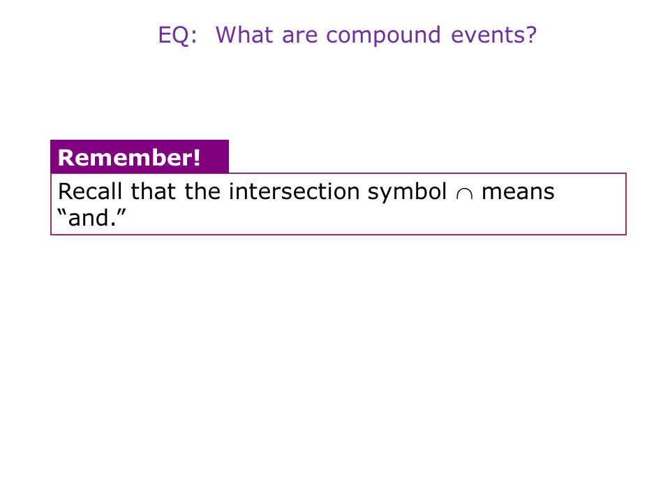 """Recall that the intersection symbol  means """"and."""" Remember! EQ: What are compound events?"""