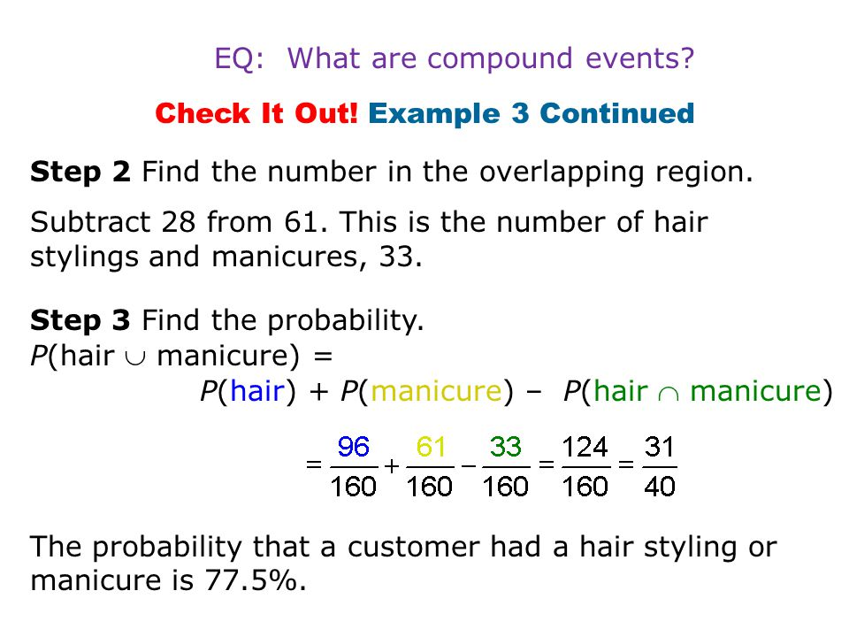 Check It Out! Example 3 Continued Step 2 Find the number in the overlapping region. Subtract 28 from 61. This is the number of hair stylings and manic